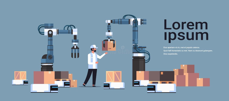 De menseningenieur die robotachtige handen controleren die dozen op het product van de robotauto zetten levert industrie het conc vector illustratie