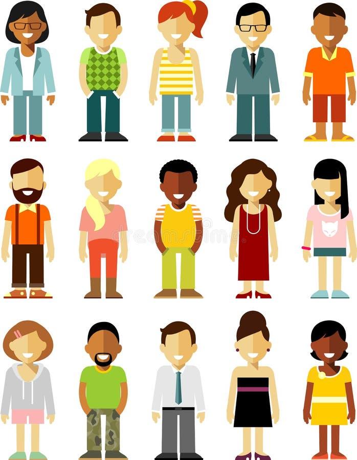 De mensenkarakters bevinden zich reeks in vlakke die stijl op witte achtergrond wordt geïsoleerd vector illustratie