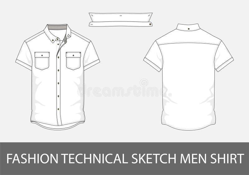 De mensenoverhemd van de manier technisch schets met korte kokers in vector royalty-vrije illustratie