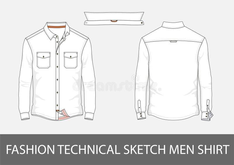 De mensenoverhemd van de manier technisch schets met lange kokers in vector vector illustratie