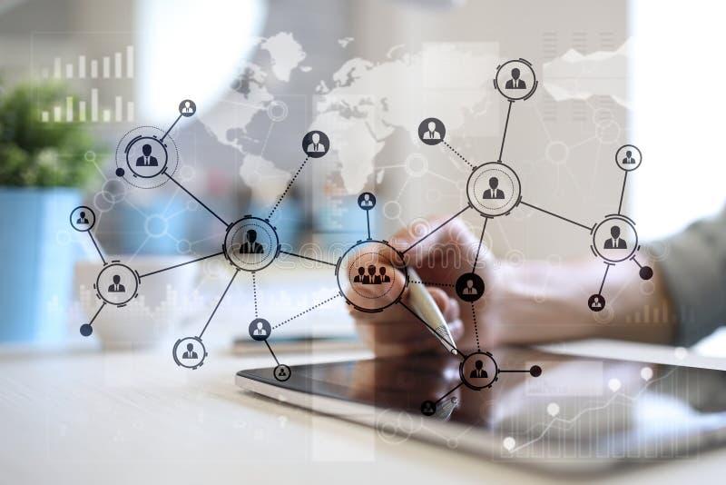 De mensenpictogrammen structureren Sociaal netwerk U Personeelsbeheer Zaken Internet en technologieconcept royalty-vrije stock afbeelding