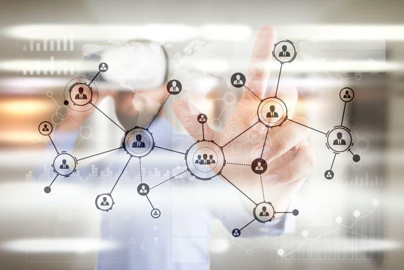 De mensenpictogrammen structureren Sociaal netwerk U Personeelsbeheer Zaken Internet en technologieconcept stock afbeelding