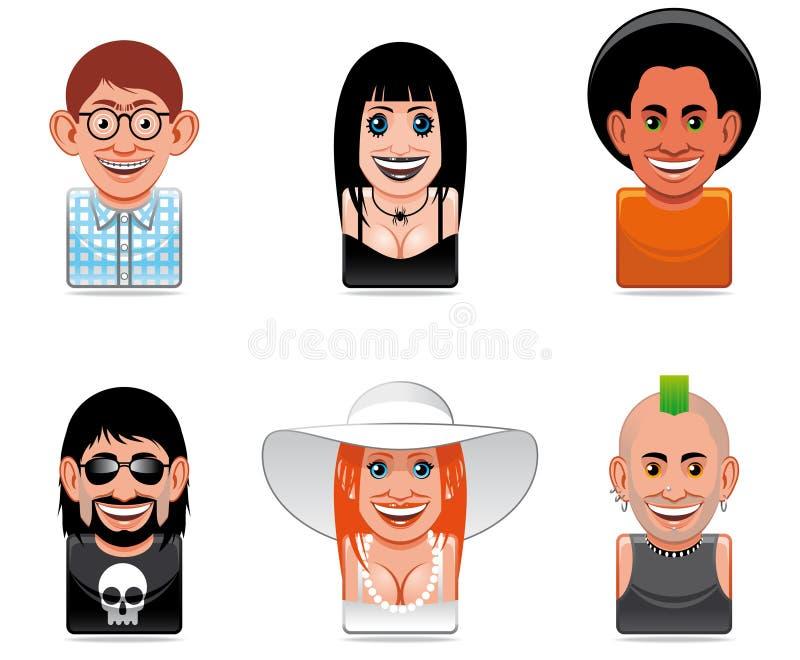 De mensenpictogrammen van het beeldverhaal stock illustratie