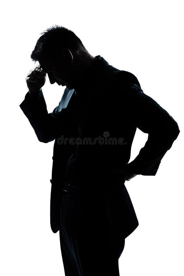 De mensenportret dat van het silhouet neer het kijken denkt stock afbeeldingen