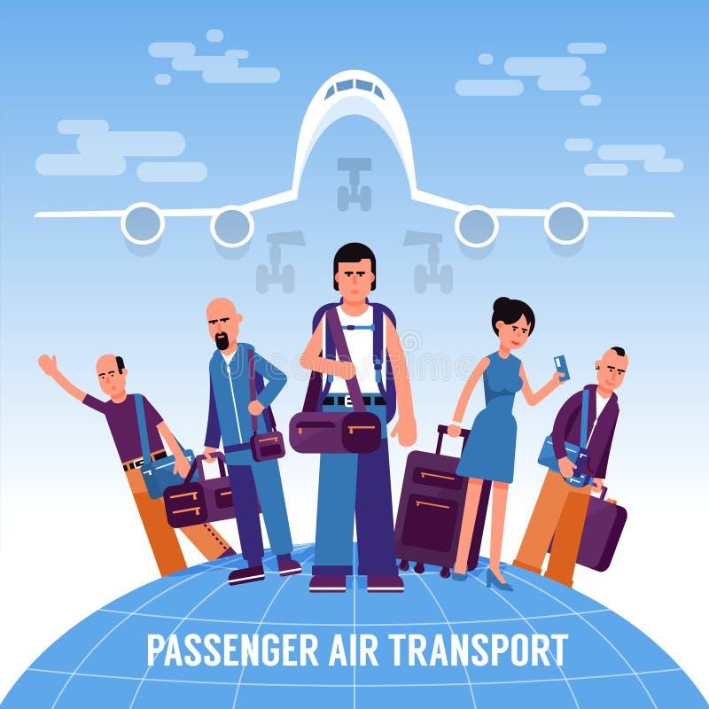 De mensenreizigers met bagage bevinden zich op de bol vector illustratie