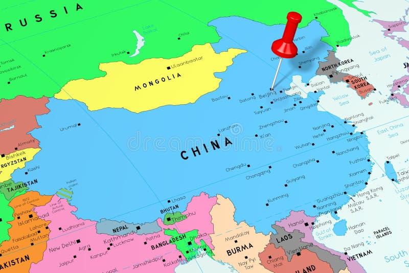 De Mensenrepubliek van China China, Peking - hoofdstad, op politieke kaart wordt gespeld die vector illustratie