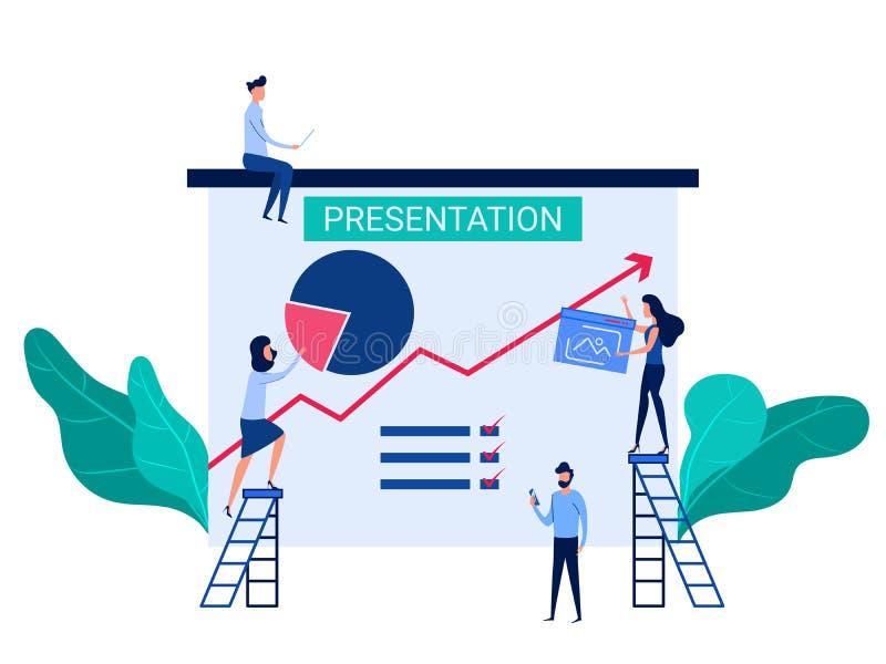 De mensensamenwerking bereidt bedrijfspresentatie en online opleidingsverhogingsverkoop en vaardigheden voor Analysebedrijfsinfor royalty-vrije illustratie