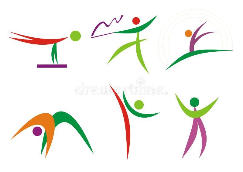 De mensensilhouetten van de gymnastiek & van de geschiktheid vector illustratie