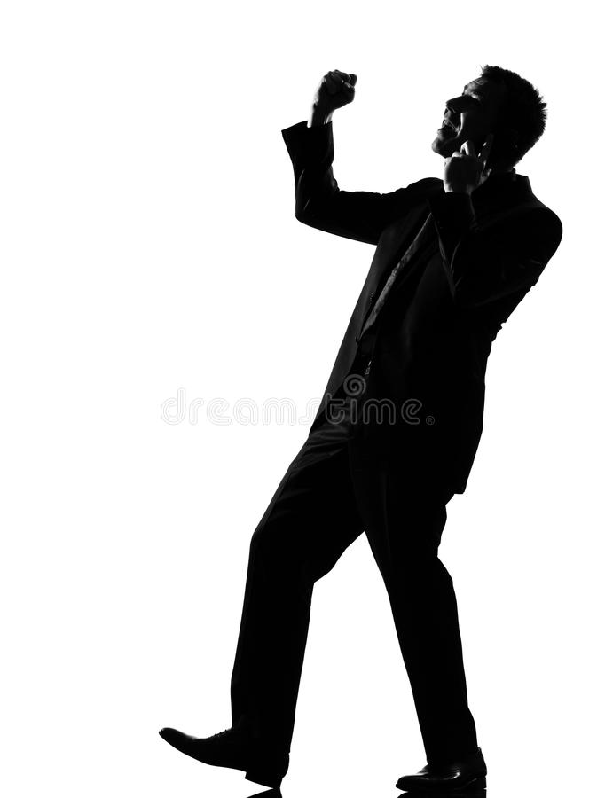De mensenwinnaar van het silhouet op de telefoon stock fotografie