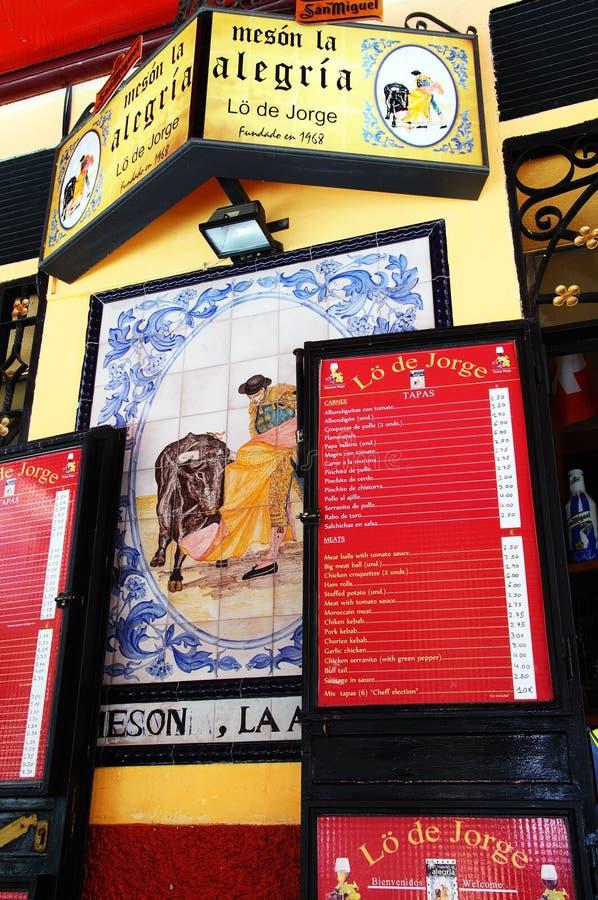 De menu's van de Tapasbar, Malaga, Spanje royalty-vrije stock foto