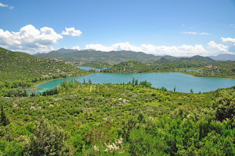 De Meren van Bacinska, Makarska Riviera, Dalmatië, Kroatië stock fotografie