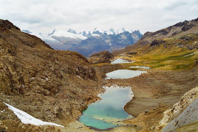 De Meren van Huayhuash, Peru stock foto's