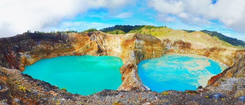 De meren van Kelimutu stock fotografie