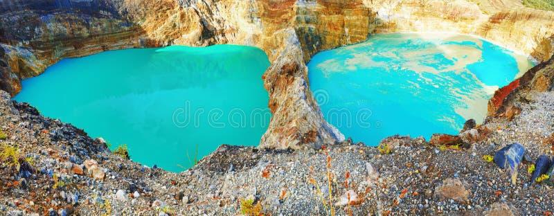 De meren van Kelimutu stock afbeeldingen