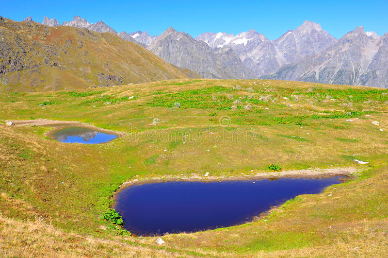 De Meren van Koruldi, Svaneti Georgië royalty-vrije stock foto