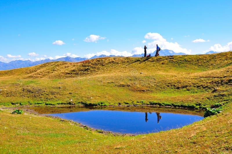 De Meren van Koruldi, Svaneti Georgië stock foto's