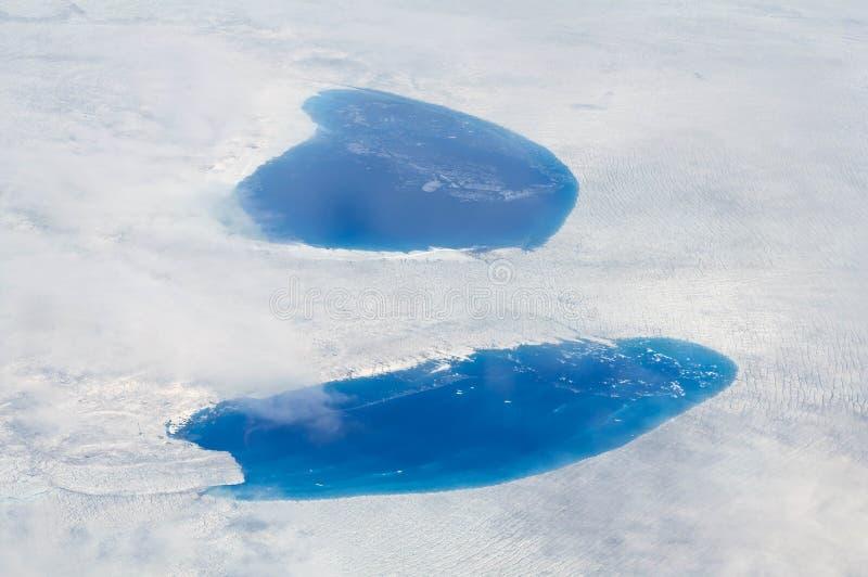 De Meren van Supraglacial over de Ijskap, Groenland stock foto's