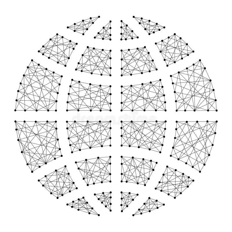 De meridiaan en de breedtesymbool van het bolpictogram van abstracte futuristisch royalty-vrije illustratie