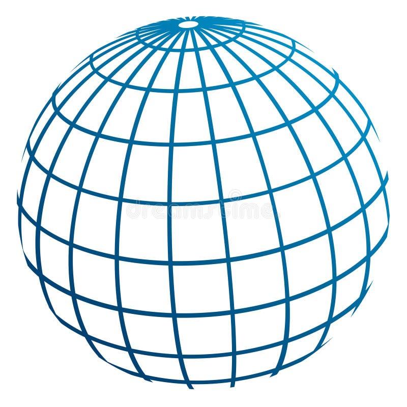 De meridianen van de bol/het model van de Aarde vector illustratie