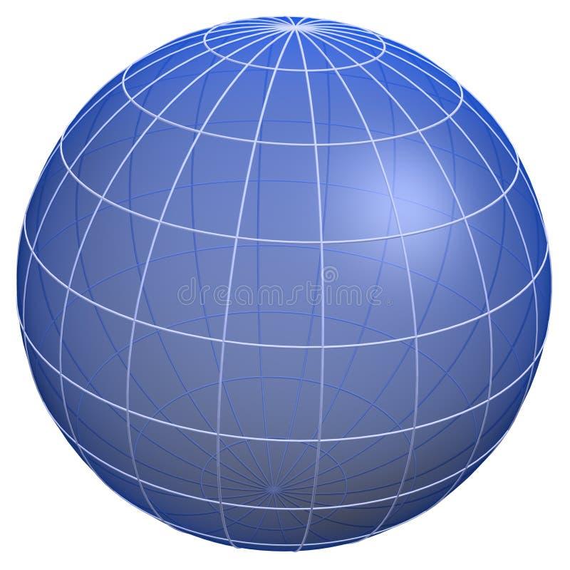 De meridianen van de bol/het model van de Aarde royalty-vrije illustratie