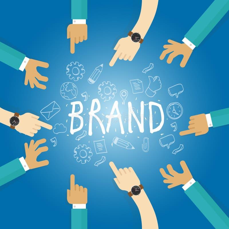 De merkbouw bouwt bedrijfhandelsnaam het brandmerken het teamwerk marketing vector illustratie