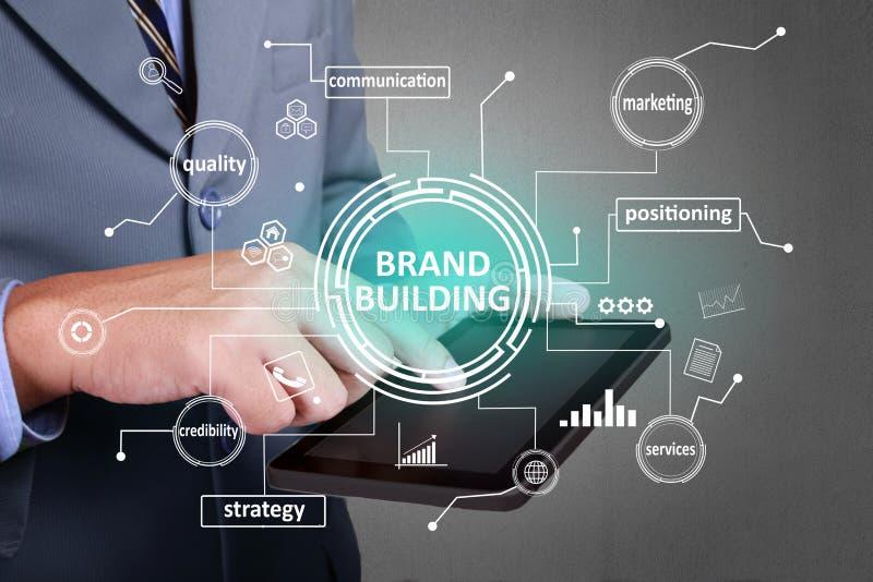 De merkbouw, het Concept van Bedrijfs Marketing Woordencitaten stock afbeelding