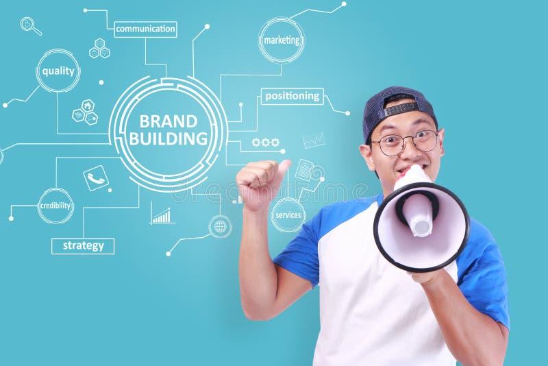 De merkbouw, het Concept van Bedrijfs Marketing Woordencitaten stock fotografie