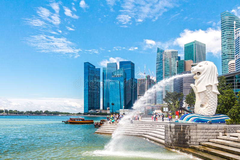 De Merlion-fontein in Singapore royalty-vrije stock afbeelding