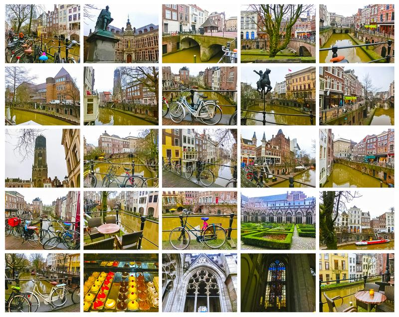 De mest berömda kanalerna och invallningarna av den Utrecht staden på vintern royaltyfria foton