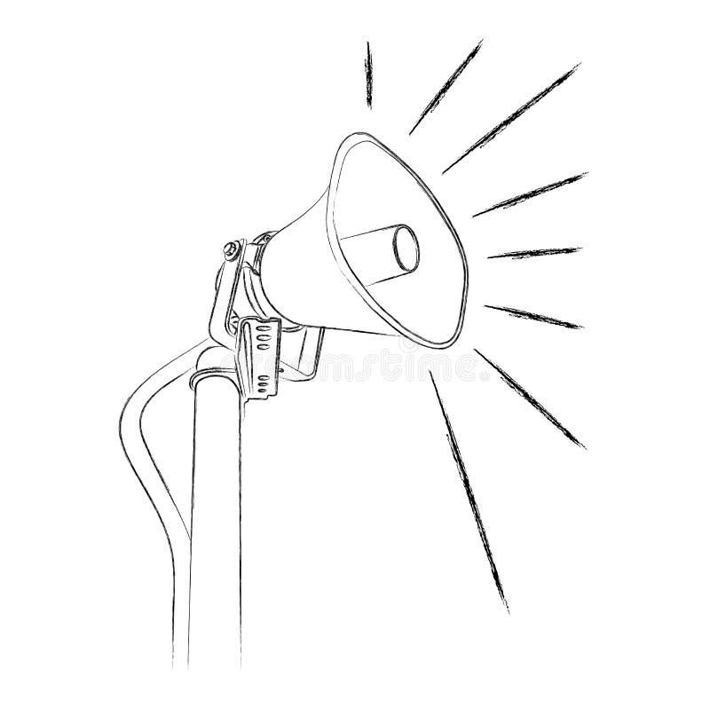 De met de hand gemaakte illustratie van de megafoon stock illustratie