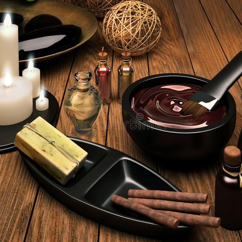 De met de hand gemaakte zeep, pijpjes kaneel, chocolade, kaarsen is op houten achtergrond stock foto