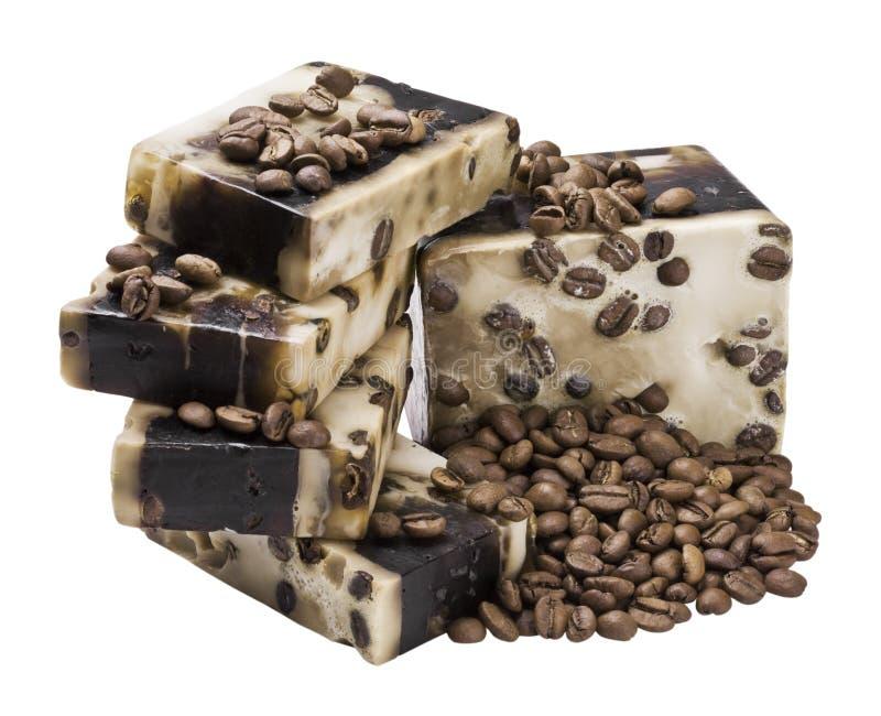 De met de hand gemaakte zeep van de koffie stock afbeelding