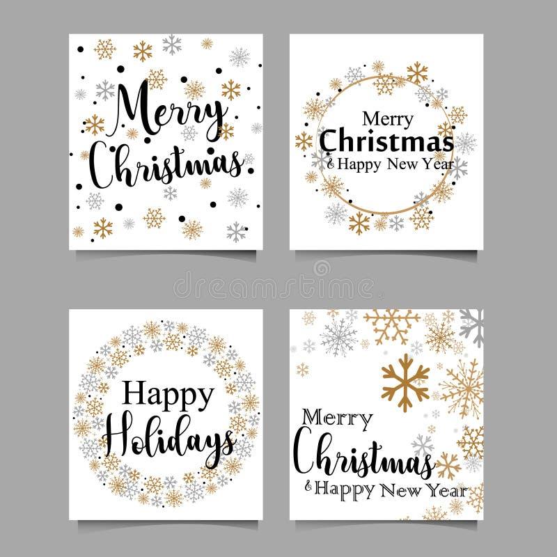 De met de hand gemaakte kaart van de stijlgroet - Vrolijke Kerstmis en Gelukkig Nieuwjaar 2018 - Vectoreps10 Vector illustratie royalty-vrije illustratie