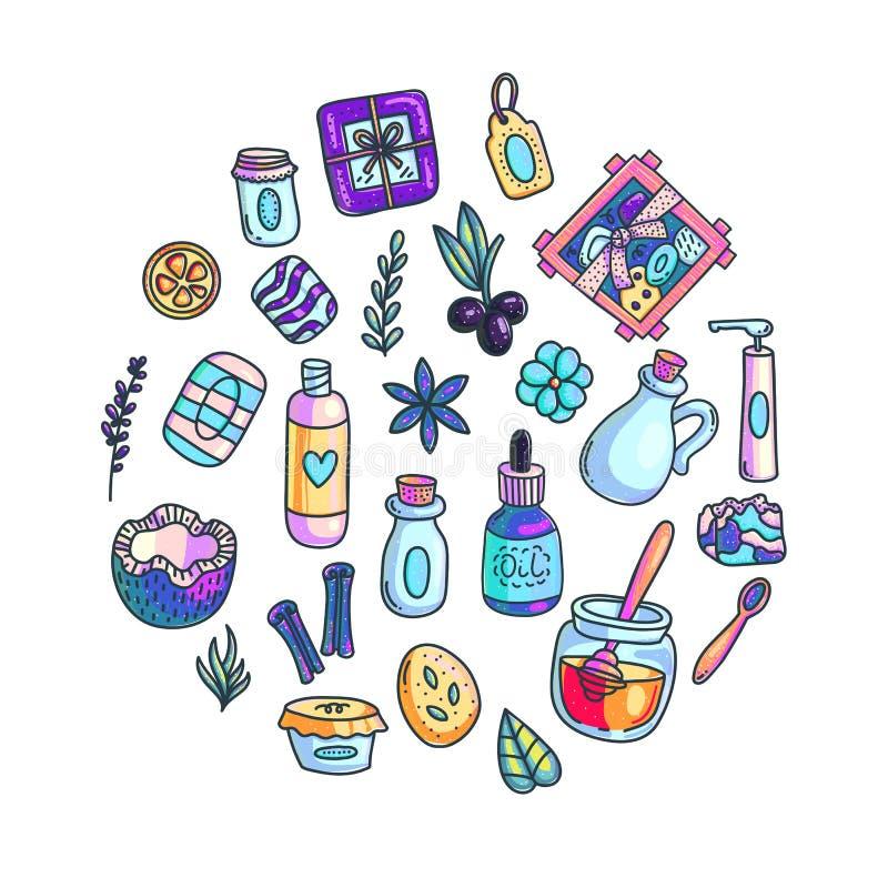 De met de hand gemaakte schoonheidsmiddelen overhandigen getrokken geplaatste illustraties vector illustratie