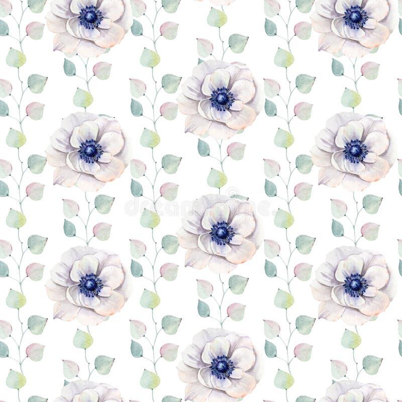 De met de hand geschilderde waterverf bloeit naadloos patroon stock illustratie