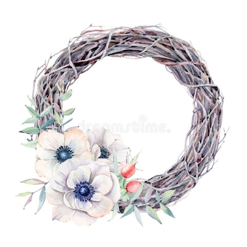 De met de hand geschilderde waterverfanemoon bloeit kroon in uitstekende stijl vector illustratie