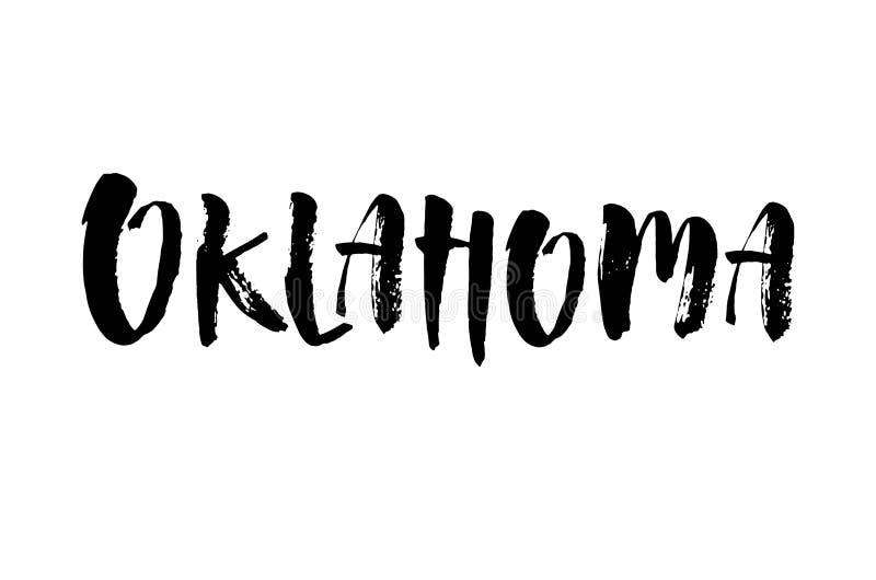 De met de hand geschreven Amerikaanse naam Oklahoma van de staat Kalligrafisch element voor uw ontwerp Moderne borstelkalligrafie royalty-vrije illustratie