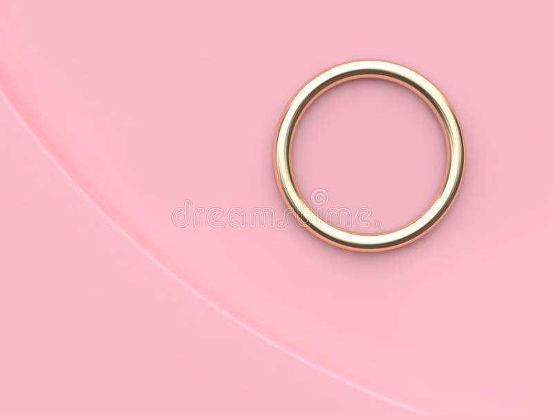 De metaal gouden bezinning ring-cirkel-om de abstracte minimale roze roze 3d scène van de achtergrondkrommehoek geeft terug royalty-vrije illustratie