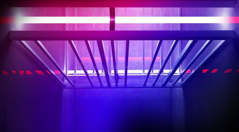 De metaalbouw, het rooster is verlicht met een nieuw licht, blauw en rood neon, dikke rook, smog Tunnelgang, Reflec royalty-vrije stock afbeeldingen