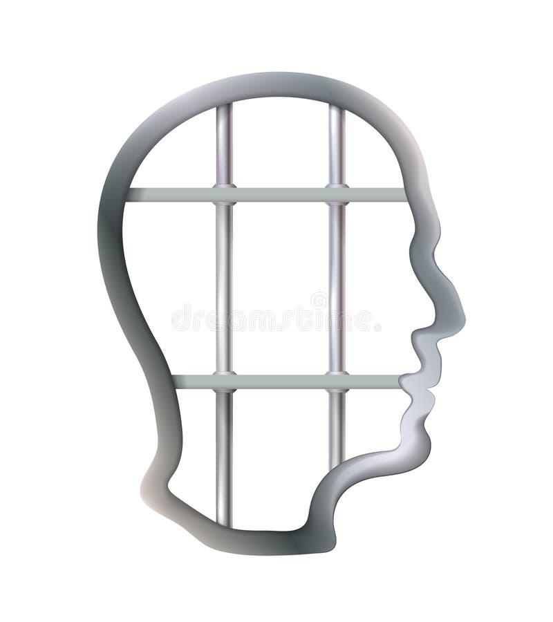 De metaalcel in het menselijke hoofd zijn zet, strijd, gebrekcreativiteit, beperkingenvrijheid van gedacht concept gevangen Zaken stock illustratie