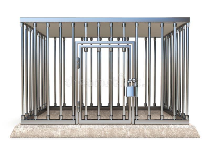 De metaalkooi met 3D slot vooraanzicht geeft illustratie terug stock illustratie