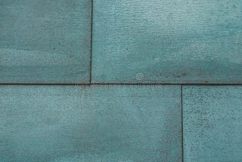 De metaalpanelen schilderden in turkoois stock afbeelding