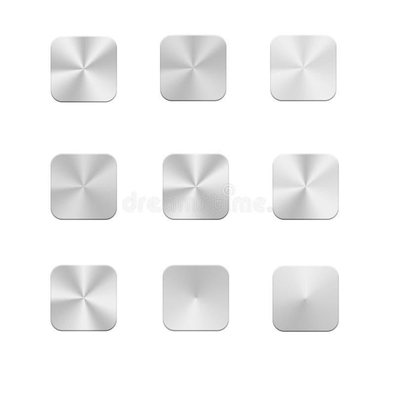 De metaalreeks van het de Knooppictogram van het Aluminium Vierkante Web royalty-vrije illustratie