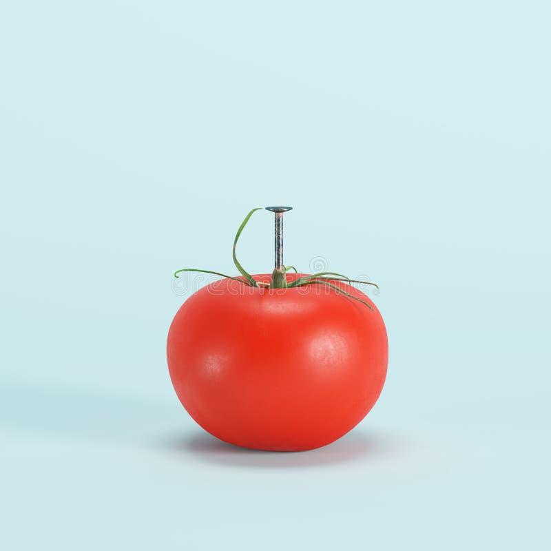 De metaalspijker schroefte tomaat op pastelkleur blauwe achtergrond vast vector illustratie