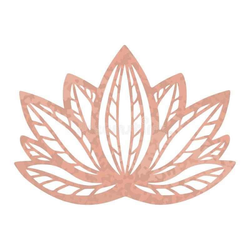 De metaaltatoegering nam gouden folietextuur, het Gestileerde vectorontwerp van de lotusbloembloem, Mystiek decoratief zensymbool royalty-vrije illustratie