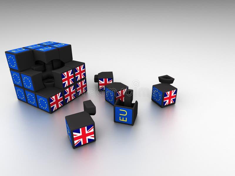 De metafoor van de Brexitkubus voor Brexit-fiasco royalty-vrije illustratie