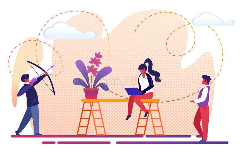 De Metafoor van het het Groepswerkproces van bureaumensen Succes vector illustratie