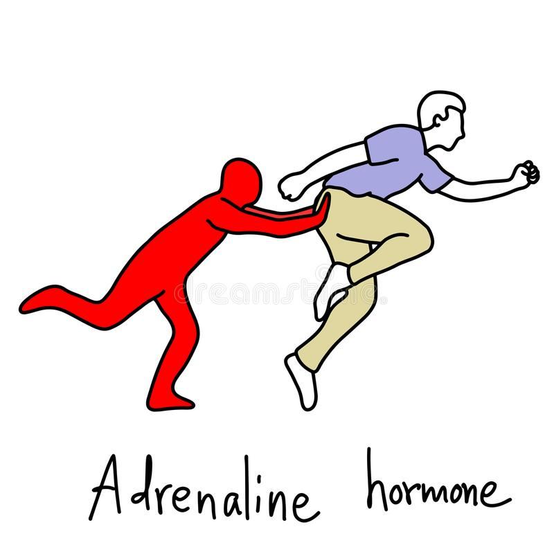 De metafoorfunctie van adrenalinehormoon is menselijk lichaam ru te maken royalty-vrije illustratie