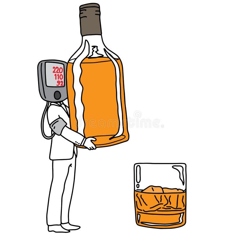De metafooroorzaak van hoge bloeddruk of hypertensie is drinkin royalty-vrije illustratie