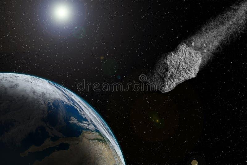 De meteorietvliegen aan de grond Groot en reusachtig met de aarde in botsing komen Melkweg en sterren royalty-vrije illustratie
